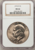 Eisenhower Dollars: , 1974-D $1 MS66 NGC. NGC Census: (262/7). PCGS Population (411/14). Mintage: 45,517,000. Numismedia Wsl. Price for problem f...