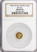 California Fractional Gold: , 1856 50C Liberty Octagonal 50 Cents, BG-311, Low R.4, MS63Prooflike NGC. NGC Census: (3/0). (#710...