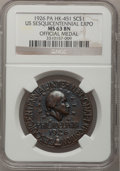 So-Called Dollars, 1926 Medal U.S. Sesquicentennial Expo So Called Dollar MS63 Brown . NGC. HK-451. ...