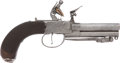 Military & Patriotic:Revolutionary War, 18th Century Silver Mounted British Three Barrel Tap Action F/L Pistol with Snap Bayonet....
