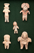 Antiques:Antiquities, Five Small Figures, Framed...