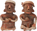 Antiques:Antiquities, Nayarit Couple with Ball and Bowl... (Total: 2 Items)