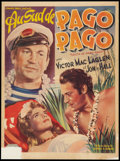 """Movie Posters:Adventure, South of Pago Pago (United Artists, R-1940s). Belgian (14"""" X 19"""").Adventure.. ..."""