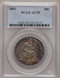 Seated Half Dollars: , 1861 50C AU55 PCGS. PCGS Population (35/247). NGC Census: (0/0).Mintage: 2,888,400. Numismedia Wsl. Price for problem free...
