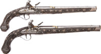 Incredibly Ornate Pair of Gold and Silver Mounted Turkish 18th Century F/L Holster Pistols