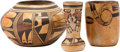 American Indian Art:Pottery, THREE HOPI POLYCHROME POTTERY ITEMS. c. 1920 - 1940...