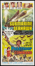 "Movie Posters:War, Submarine Seahawk / Paratroop Command Combo (AmericanInternational, 1959). Three Sheet (41"" X 81""). War.. ..."