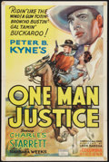 "Movie Posters:Western, One Man Justice (Columbia, 1937). One Sheet (27"" X 41""). Western....."