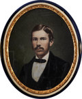 Photography:CDVs, Oval, Hand-Tinted, Quarter Plate (Approximately) Albumen Photograph of a Young Man....