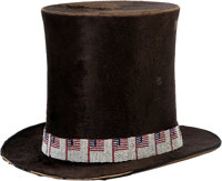 AN OSAGE BEAVER FUR TOP HAT WITH PICTORIAL LOOM-BEADED HAT BAND c. 1900