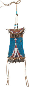 Paintings, A KIOWA BEADED HIDE STRIKE-A-LIGHT BAG. c. 1880...