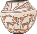 American Indian Art:Pottery, A SMALL ZUNI POLYCHROME JAR. c. 1945...