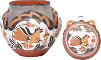 TWO ACOMA POLYCHROME POTTERY VESSELS Maria Lilly Salvadore