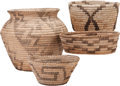 American Indian Art:Baskets, FOUR PIMA/PAPAGO COILED BASKETS ... (Total: 4 Items)