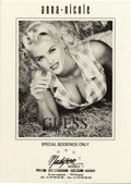"Movie/TV Memorabilia:Memorabilia, Anna Nicole Smith Guess Jeans Promo Postcard. A rare 6"" x 8.5""postcard with b&w images of Anna Nicole from her 1993 GuessJ... (Total: 1 Item)"