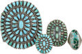 American Indian Art:Jewelry and Silverwork, FOUR ZUNI SILVER AND TURQUOISE JEWELRY ITEMS. c. 1940 - 1970...(Total: 4 Items)