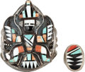 American Indian Art:Jewelry and Silverwork, TWO ZUNI SILVER, STONE, AND SHELL JEWELRY ITEMS. c. 1950 and1970... (Total: 2 Items)