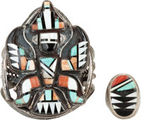 TWO ZUNI SILVER, STONE, AND SHELL JEWELRY ITEMS c. 1950 and 1970