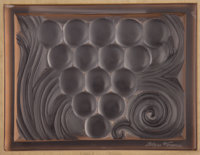 LALIQUE Architectural panel assembly, comprising male and female versions of 'Figurines et Raisins', each mounted