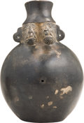 Antiques:Antiquities, Blackware Vessel with Two Animal Faces...