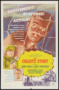 "The Colditz Story Lot (DCA, 1956). One Sheet (27"" X 41"") and Trade Ad Proofs (4) (9"" X 12"" and 11&qu..."