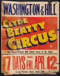 """Movie Posters:Miscellaneous, Clyde Beatty Circus Poster (1940s). Jumbo Window Card (20.5"""" X 26""""). Miscellaneous.. ..."""