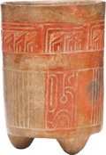 Antiques:Antiquities, Maya Cylinder with Incised Bird Heads...