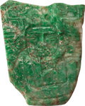Antiques:Antiquities, Maya Jade Plaque with Human Figure...