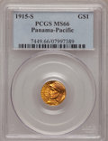 Commemorative Gold: , 1915-S G$1 Panama-Pacific Gold Dollar MS66 PCGS. PCGS Population(734/48). NGC Census: (559/54). Mintage: 15,000. Numismedi...
