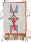 American Indian Art:Beadwork and Quillwork, A PLAINS BEADED HIDE POUCH. c. 1890...
