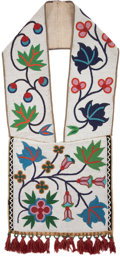 American Indian Art:Beadwork and Quillwork, A CHIPPEWA BEADED HIDE BANDOLIER. c. 1910 ...