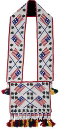 American Indian Art:Beadwork and Quillwork, A CONTEMPORARY GREAT LAKES BEADED HIDE BANDOLIER BAG. c. 1990...