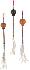 American Indian Art:Beadwork and Quillwork, A GROUP OF THREE SOUTHERN PLAINS BEADED GOURD RATTLES. c. 1950...(Total: 3 Items)