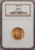 Liberty Half Eagles, 1898-S $5 MS63 NGC. NGC Census: (46/56). PCGS Population (55/38).Mintage: 1,397,400. Numismedia Wsl. Price for problem fre...