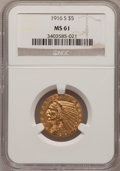 Indian Half Eagles: , 1916-S $5 MS61 NGC. PCGS Population (95/564). Mintage: 240,000.Numismedia Wsl. Price for problem free N...