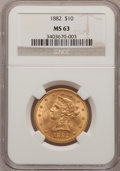 Liberty Eagles: , 1882 $10 MS63 NGC. NGC Census: (0/0). PCGS Population (297/33).Mintage: 2,324,480. Numismedia Wsl. Price for problem free ...