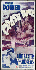 "Movie Posters:War, Crash Dive (20th Century Fox, R-1956). Three Sheet (41"" X 81"").War.. ..."