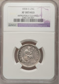 Seated Quarters, 1858-S 25C --Improperly Cleaned--NGC Details. XF....