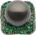 Estate Jewelry:Rings, Black South Sea Cultured Pearl, Tsavorite Garnet, White Gold Ring. ...