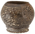 Antiques:Antiquities, Blackware Footed Bowl with Woven Pattern...