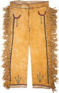 American Indian Art:Beadwork and Quillwork, A PAIR OF APACHE BEADED HIDE TROUSERS. c. 1890...