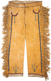 A PAIR OF APACHE BEADED HIDE TROUSERS c. 1890