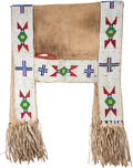 American Indian Art:Beadwork and Quillwork, A SIOUX BEADED HIDE SADDLE THROW. c. 1900...