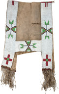American Indian Art:Beadwork and Quillwork, A SIOUX BEADED HIDE SADDLE THROW. c. 1890. ...
