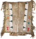 American Indian Art:Beadwork and Quillwork, A PAIR OF PLAINS PICTORIAL BEADED AND FRINGED HIDE LEGGINGS. c.1920... (Total: 2 Items)