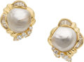 Estate Jewelry:Rings, Baroque South Sea Cultured Pearl, Diamond, Gold Earrings. ... (Total: 2 Items)