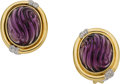 Estate Jewelry:Earrings, Carved Amethyst, Diamond, Gold Earrings. ... (Total: 2 Pieces)