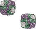 Estate Jewelry:Earrings, Pink Sapphire, Tsavorite Garnet, Diamond, Gold Earrings. ... (Total: 2 Pieces)