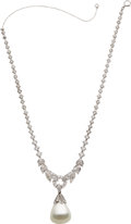 Estate Jewelry:Necklaces, Art Deco South Sea Cultured Pearl, Diamond, Platinum Necklace. ...