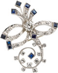 Estate Jewelry:Brooches - Pins, Diamond, Sapphire, Platinum, Gold Brooch. ...